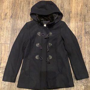 H&M Black Coat Zipper Toggle Button Jacket